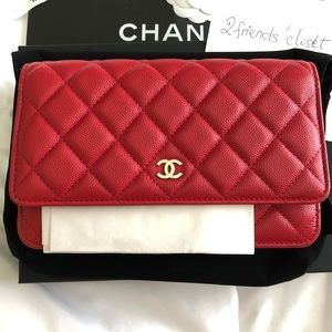 Chanel red wallet on chain bag 19b woc New